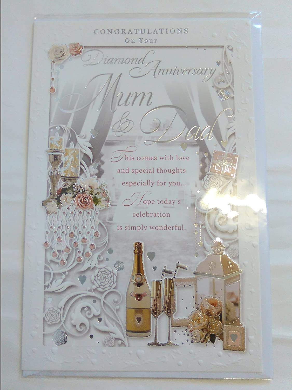 Congratulations On Your Diamond Anniversary Mum /& Dad 60th Wedding Anniversary Card Champagne//Lantern Foil Detail Large Card