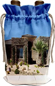 3dRose Jos Fauxtographee- Home - A modern looking home in Southern Utah with palms and junipers - Wine Bag (wbg_321966_1)