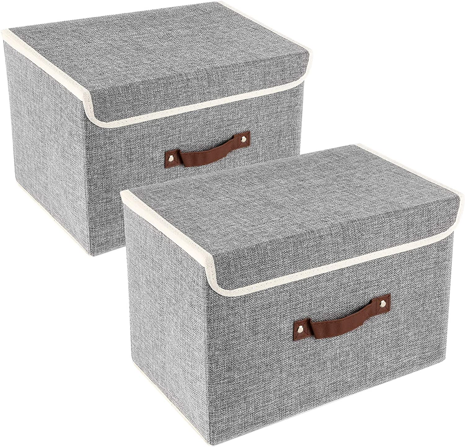 UMI. by Amazon 2 Pack Foldable Storage Boxes with Lids, Storage bins in Cotton and Linen - Grey