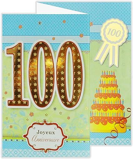 Afie 882148 Carte 3 Volets Joyeux Anniversaire 100 Ans Amazon Fr Fournitures De Bureau