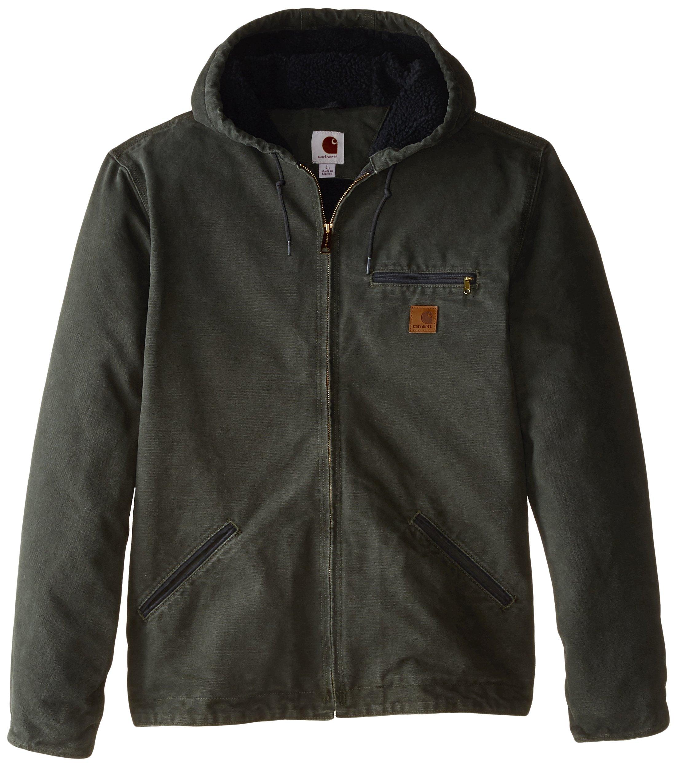 Carhartt Men's Big & Tall Sherpa Lined Sandstone Sierra Jacket J141,Moss,3X-Large