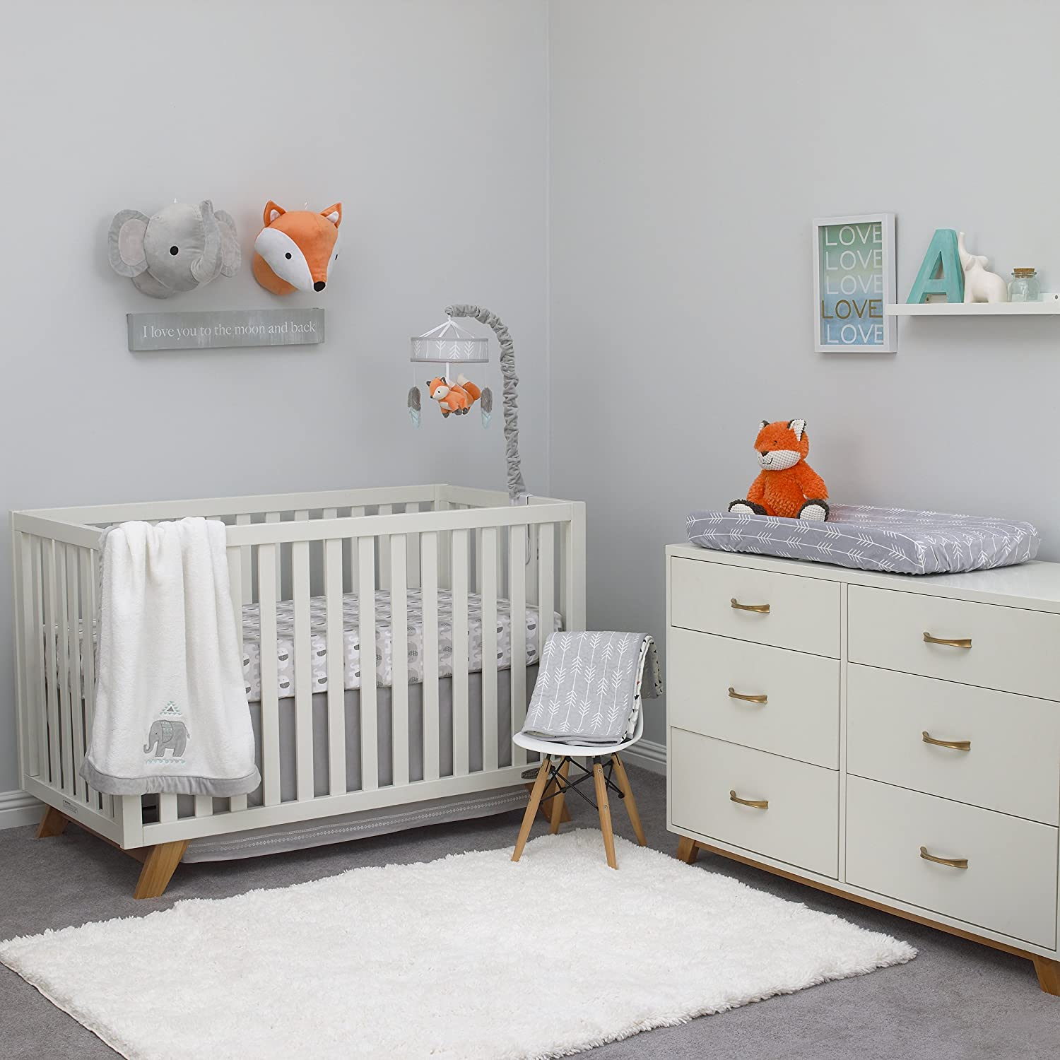 Grey NoJo Aztec Mix /& Match Nursery Crib Bedskirt//Dust Ruffle with Embroidered Trim