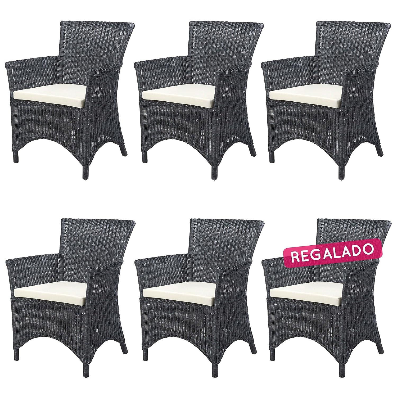 REBAJAS : -41% Lote 6 sillones de ratan Rosas gris negro ...
