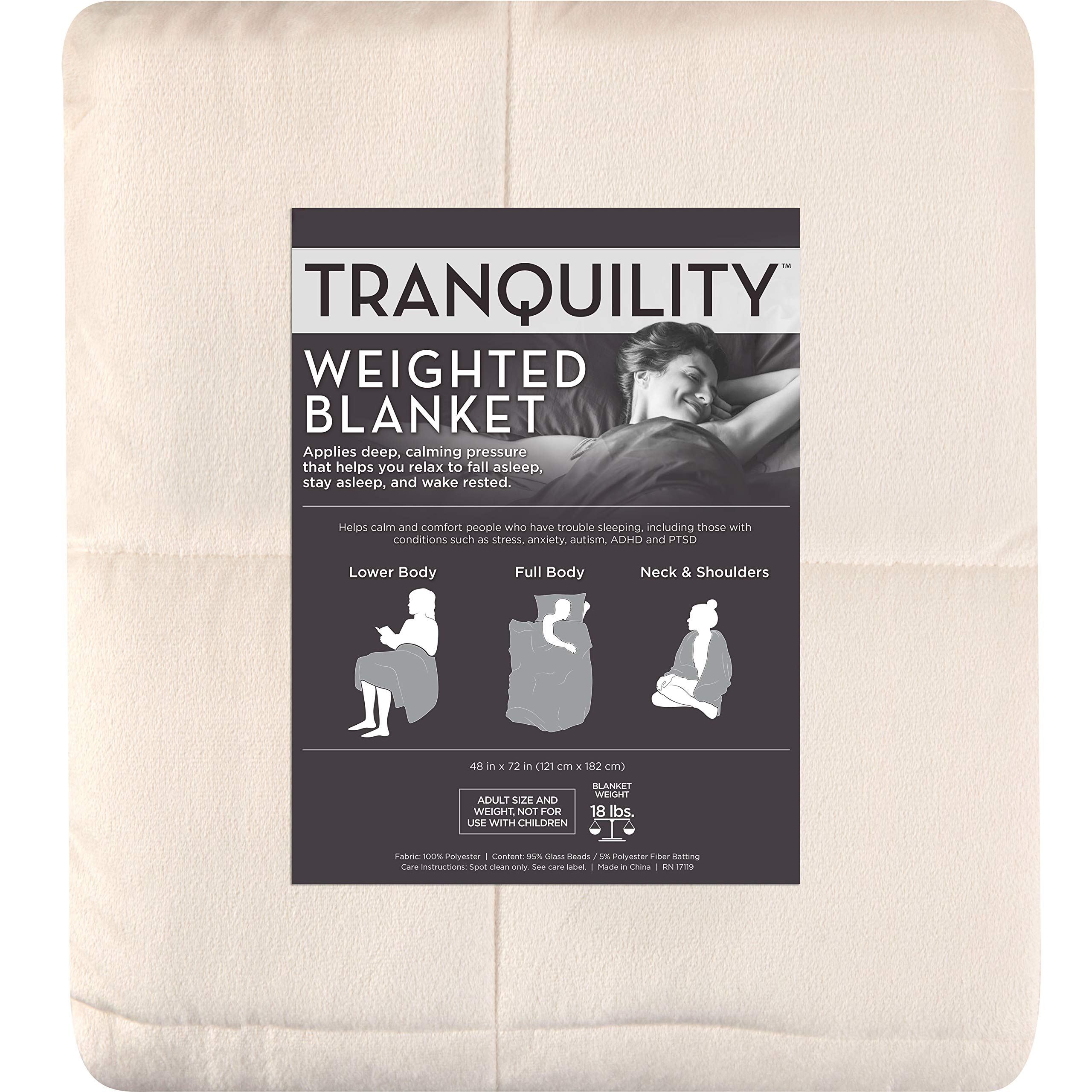 Tranquility Weighted Blankets - 18 Pounds (Ivory) by Tranquility