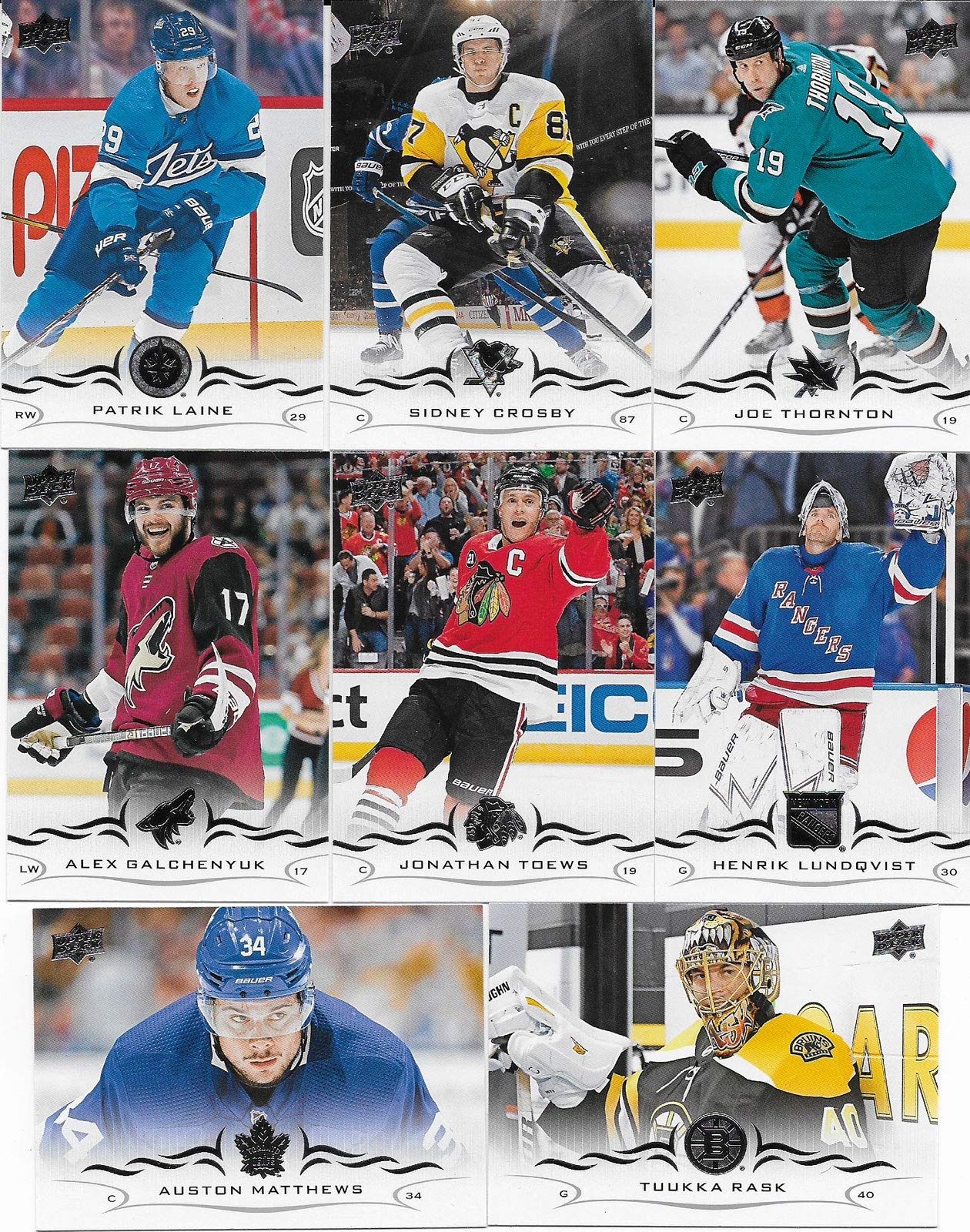 2018 2019 Upper Deck NHL Hockey Series Two Complete Mint Basic Hand Collated 200 Card Veteran Players Set Including Sidney Crosby and Auston Matthews Plus Many Others