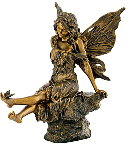 Top Collection Outdoor Aster Fairy Statue with Butterfly on Foot – Hand Painted Decorative Mythical Garden Sculpture in Antique Copper Finish – Collectible 14.5-Inch Long Figurine