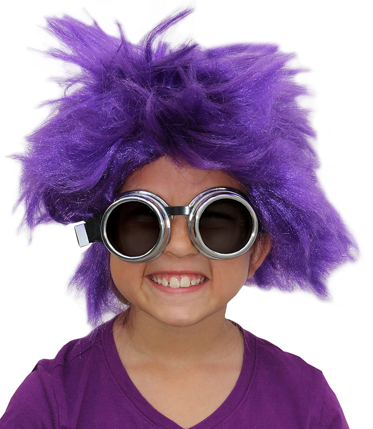 Amazon.com: Afro Wig Purple Minion Costume Set Purple Minion Wig and Minion Goggles: Clothing