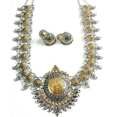 Buy innovaze dual tone lotus design big pendant necklace for women innovaze dual tone lotus design big pendant necklace for women and girls mozeypictures Gallery