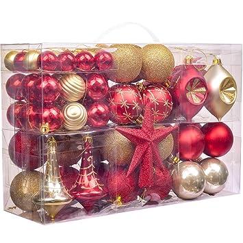 Dm Christbaumkugeln.Valery Madelyn 100 Teile 3 13cm Weihnachtskugeln Kunststoff Zur Weihnachtsbaumdekoration Mit Rot Gold Christbaumkugeln Weihnachtsbaumspitze Und