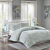 Comfort Spaces – Kashmir Mini Duvet Cover Set - 3 Piece - Paisley Pattern - Blue, Grey, - Full/Queen Size, includes 1 Duvet Cover, 2 Standard Shams