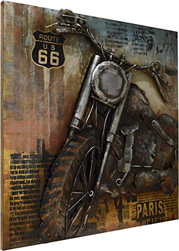 Empire Art Direct Motorcycle 1 Mixed Media Iron Hand Painted Dimensional Wall Art Ready to Hang