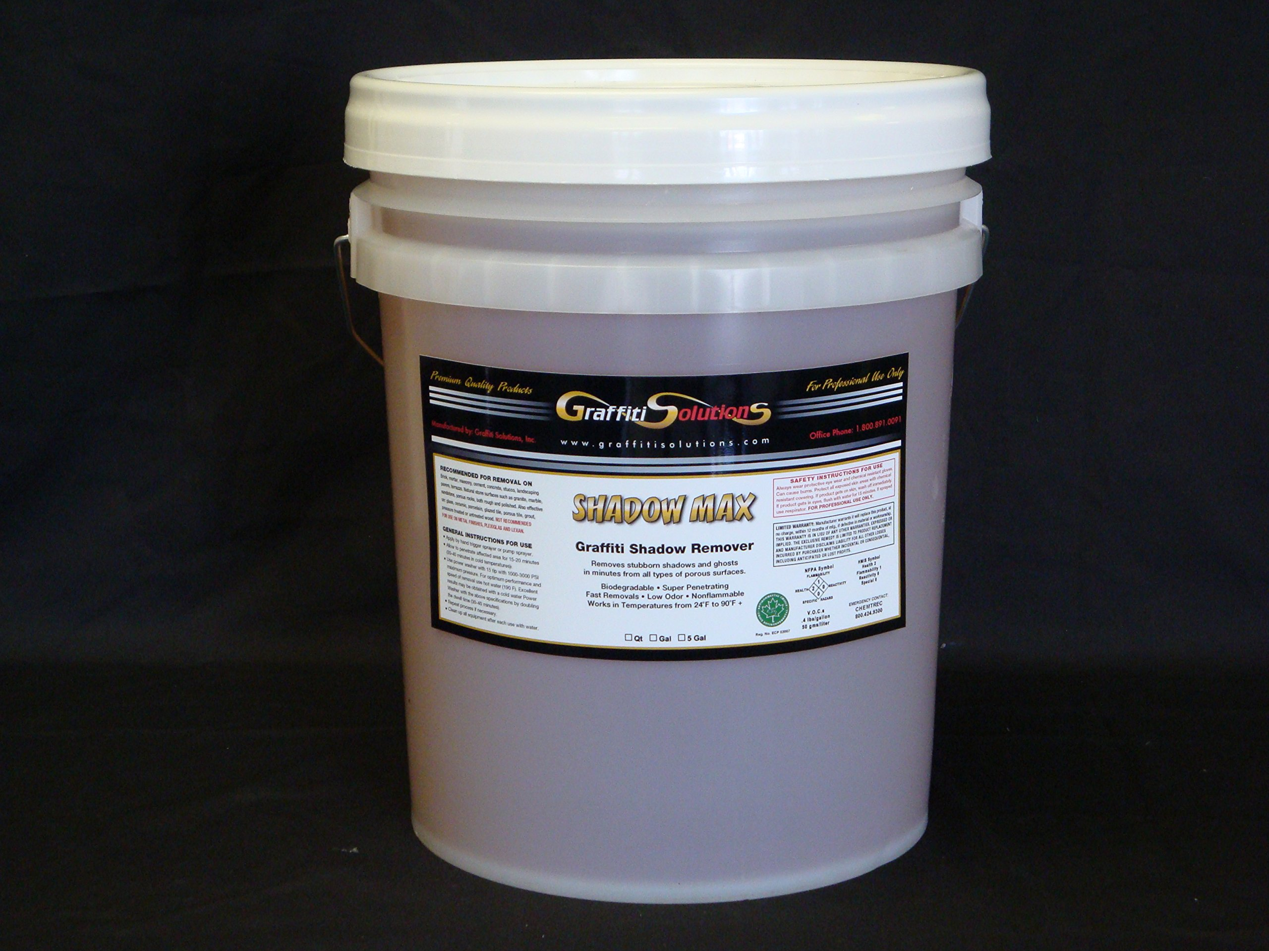 SHADOW MAX Graffiti Shadow Professional Remover 5 Gal for Effective removal of shadows, ghosting, residues left by spray paint, markers, inks. on porous surfaces after using conventional removers
