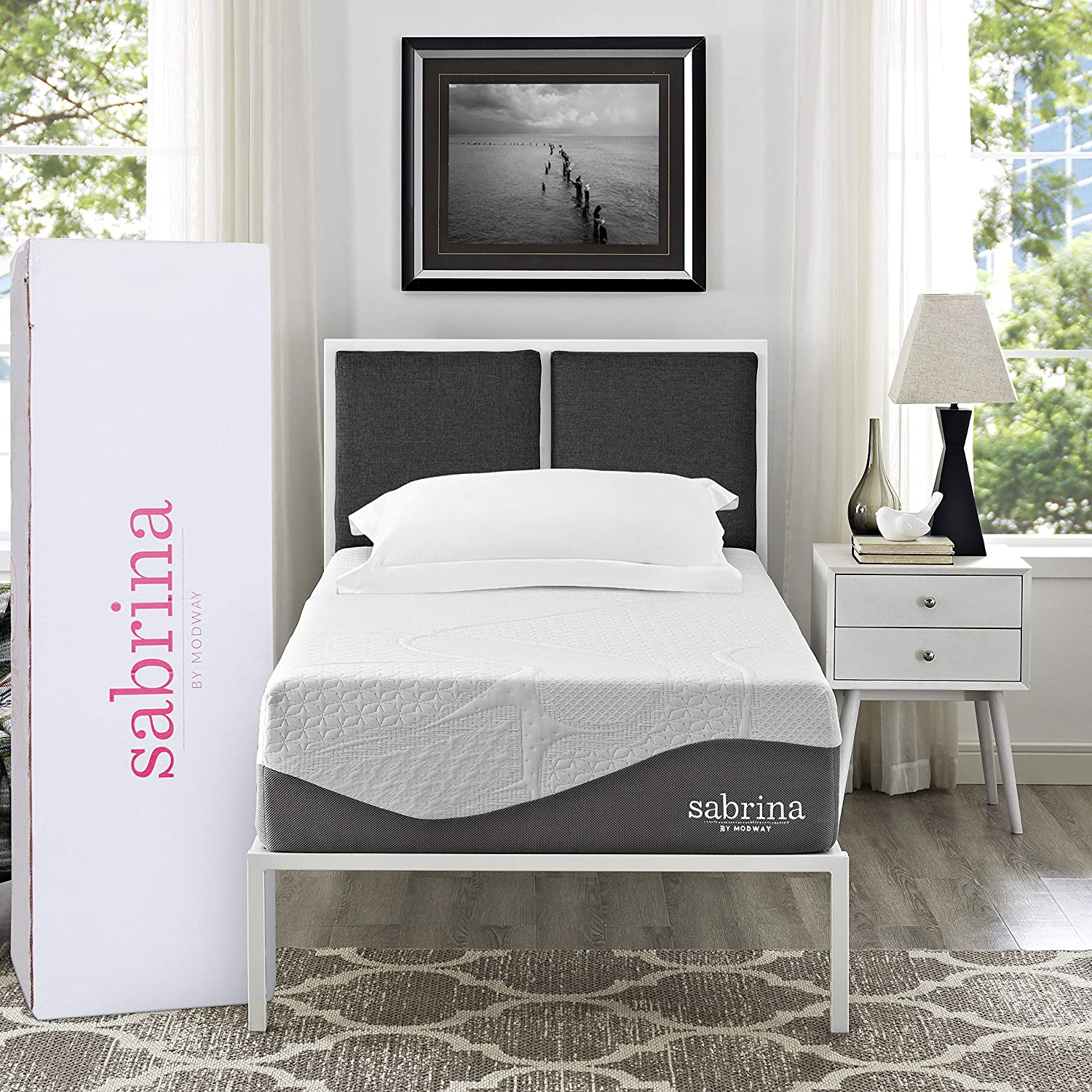 "Modway Sabrina 12"" Latex Air Gel Cooling Memory Twin Mattress with CertiPUR-US Certified Foam-Luxury Firm Mattress-10-Year Warranty"