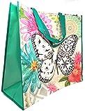 ReBagMe 超大层压再回收购物手提袋 - 超大礼品袋 - 超大杂货袋 - 防水海滩包 蝴蝶 19 x 17 x 8 Inches