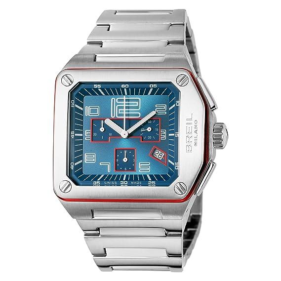 Breil WATCH LOGO CHR BLUE/RED DETAILS BRC (17) BW0392 - Reloj de caballero de cuarzo, correa de acero inoxidable color plata: BREIL: Amazon.es: Relojes