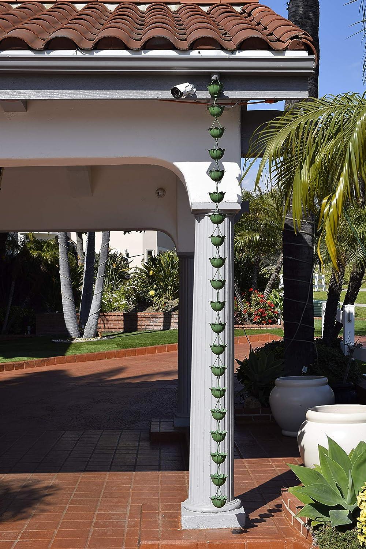 Monarch Rain Chains 18222 Aluminum Lotus Rain Chain 8-1//2 Feet Length Pow Green Patina Powder Coated