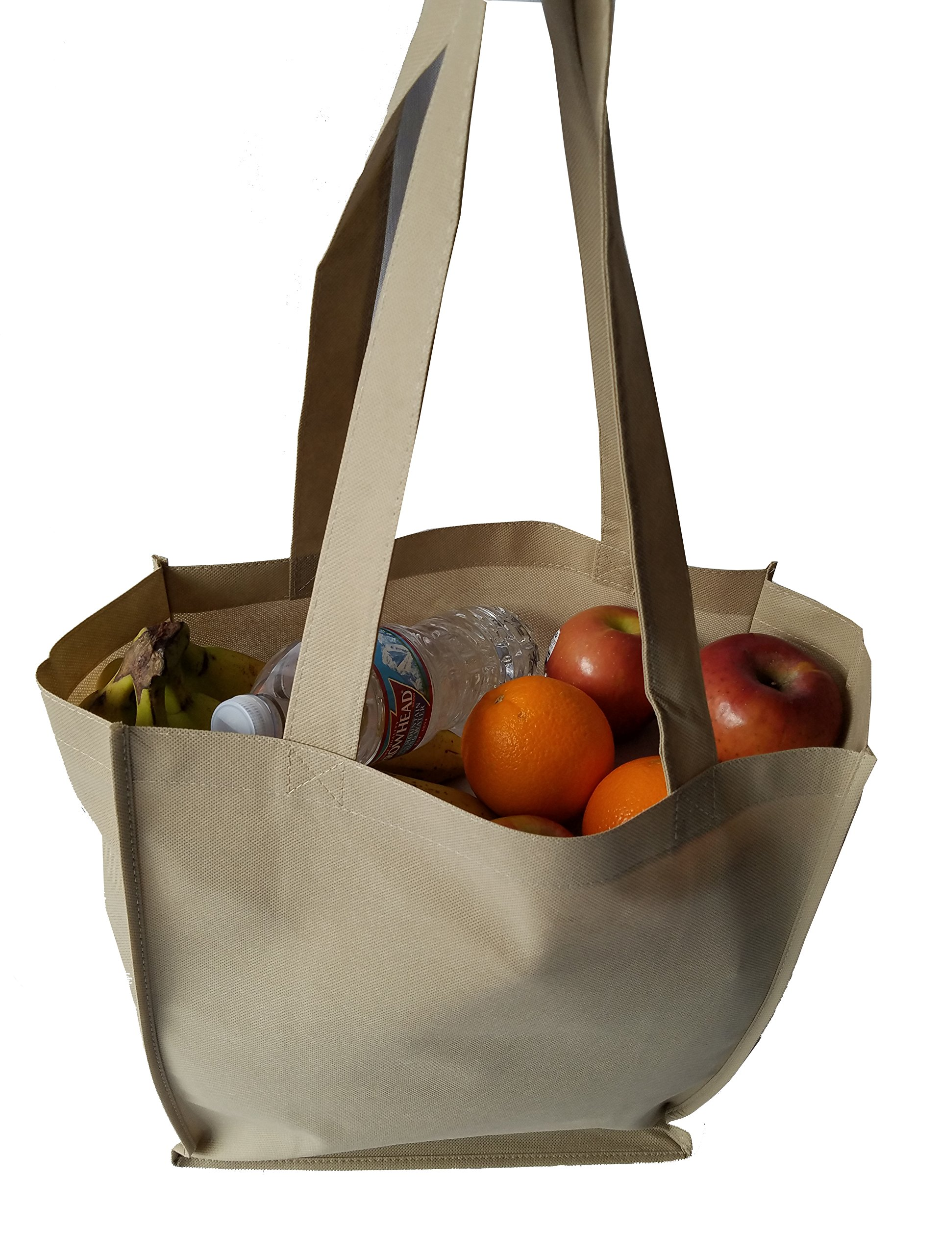 ImpecGear 15'' Tote W/ 6 Gusset Grocery Bag Recycled Reusable Shopping Tote Shoulder Bag Luggage (3, Natural) by ImpecGear (Image #3)