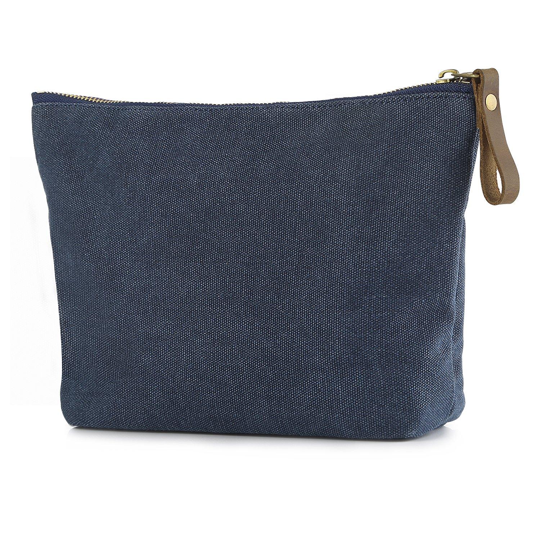 SMRITI Canvas Makeup Bag Pouch Purse Handbag Organizer with Zipper - Blue