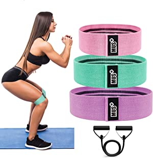 Resistance Bands 4 Pk for Perfect Legs, Hips, Glutes and Butt; Anti-Slip Exercise Bands Set - Booty Bands - Fitness Non Slip Hip Bands for Men & Women - Fabric Circle Wide Workout Bands