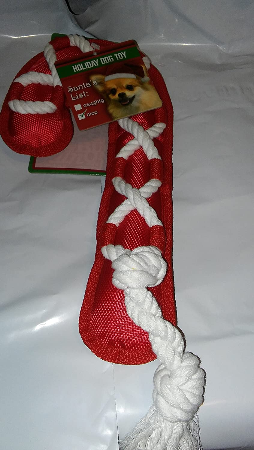 "outlet 16"" Christmas Canvas Candy Cane Cross Rope & Squeaker Holiday By Multipet (One Toy)"