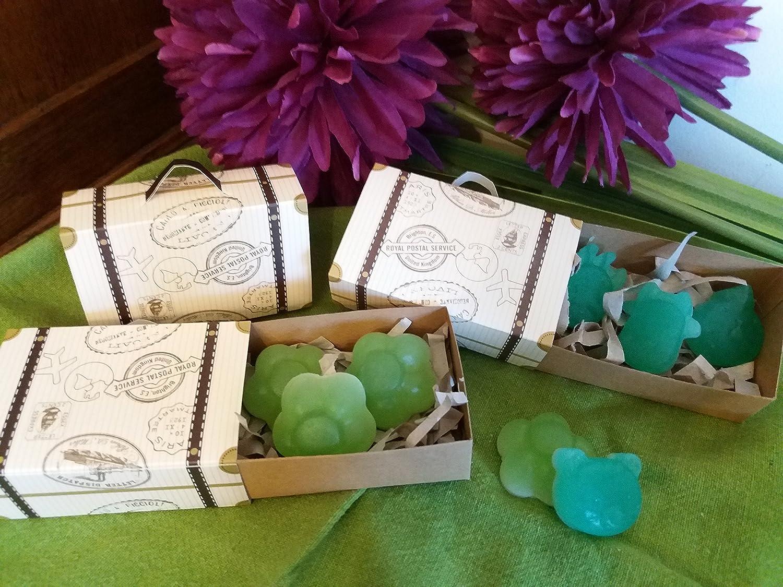 5 Maletitas para regalo con tres pequeñ os jabones artesanos de Aloe vera, miel, aceite de oliva y lavanda o hierbabuena.