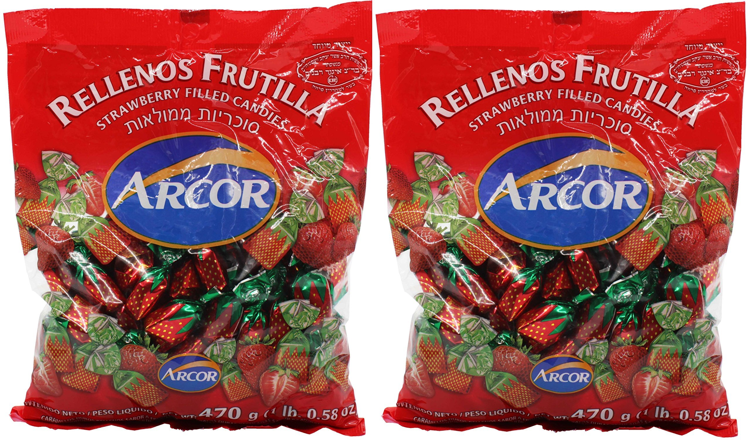 Arcor Juice Filled Strawberry Hard Kosher Candy 2 Packs, Each bag contains 470 Grams = Total 940 Grams (2.072lb) (2 Pack) by Arcor Kosher
