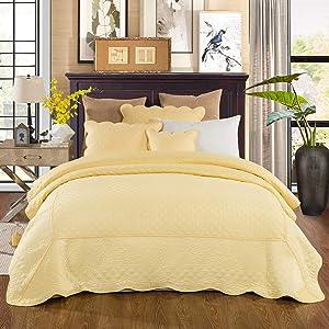 Tache Home Fashion YELLEMDES-Cal King 3 Piece Buttercup Puffs Bedspread Set, California, Yellow
