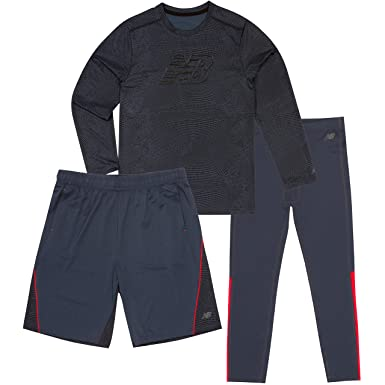 07681f4facd4c New Balance Little Boys' Long Sleeve Tee, Short and Tight Set, Thunder,
