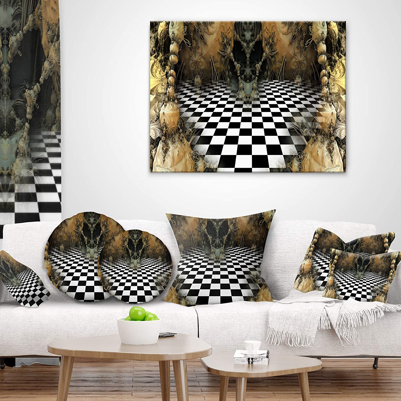 Designart CU9382-16-16-C Geometric Composition Wide View Contemporary Round Cushion Cover for Living Room Sofa Throw Pillow 16