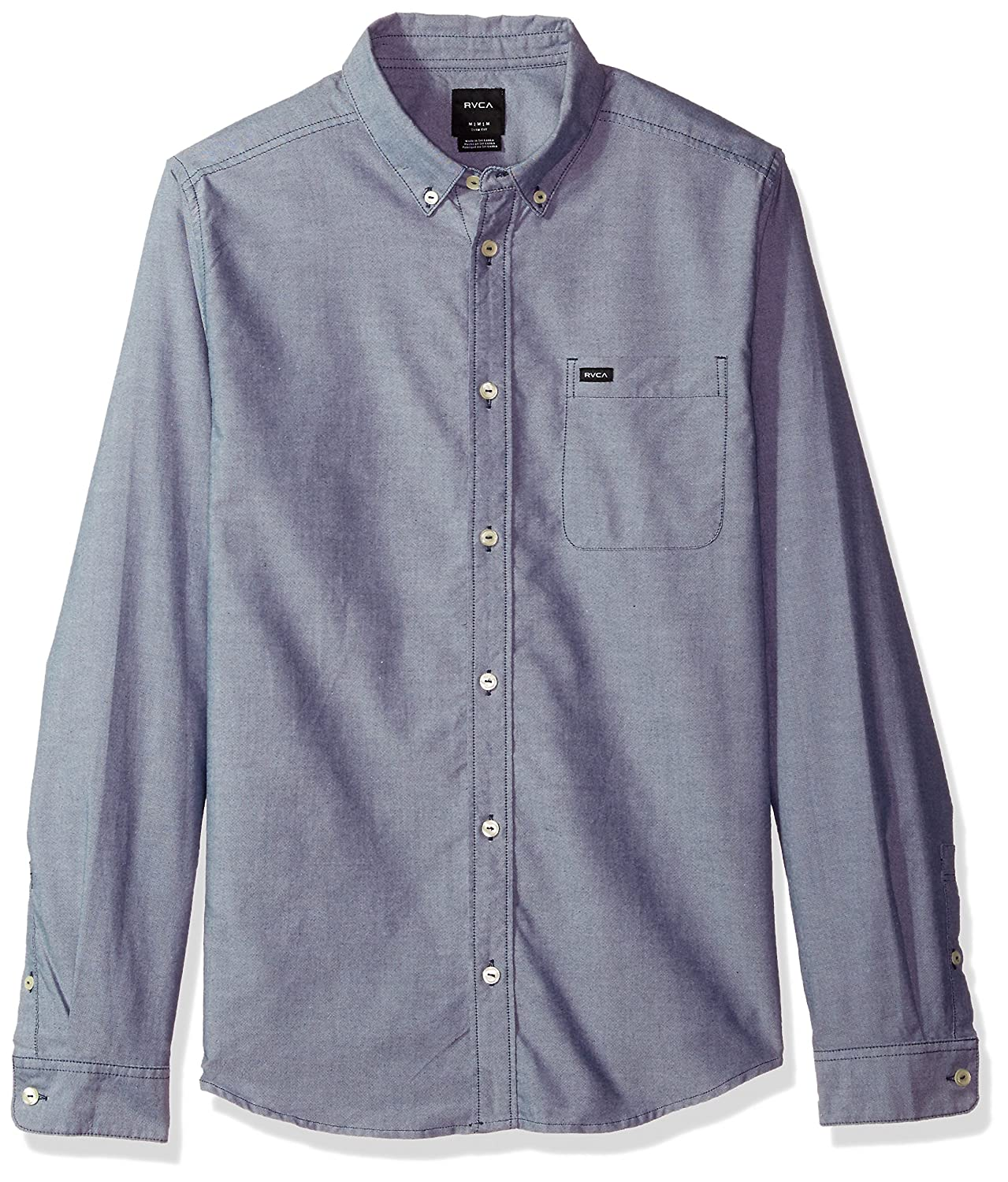RVCA Mens Oxford Long Sleeve Button Down Shirt
