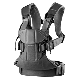 BabyBjörn Baby Carrier One, Cotton, Denim Gray/Dark Gray, One Size (098094US)
