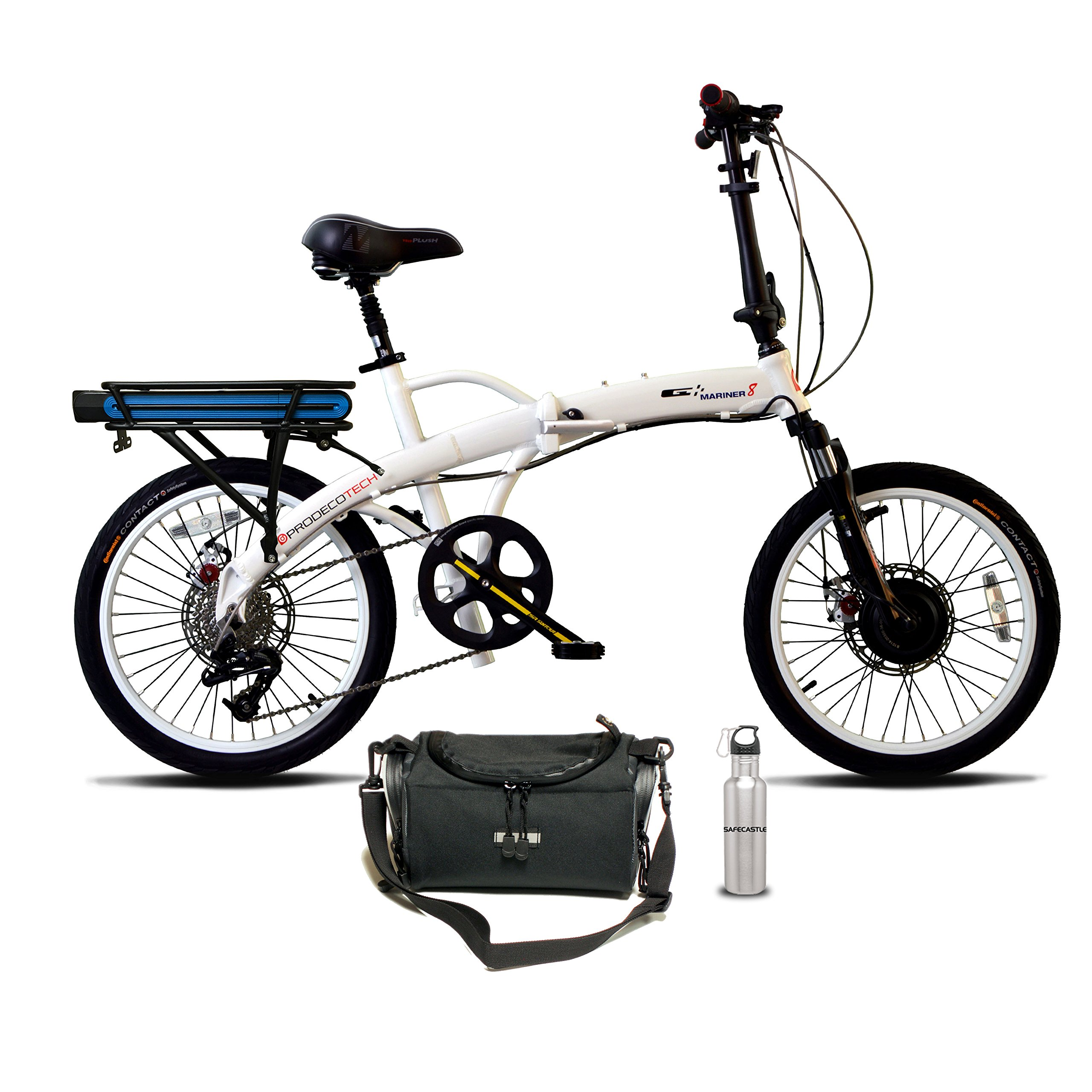 Prodeco V5 Mariner Seven 8 Speed Folding Electric Bicycle, Pure White Gloss, 20-Inch/One Size with Hand Bag & SafeCastle Stainless Steel Bottle