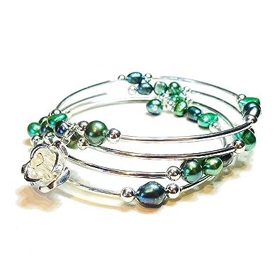Grüner & Pfauen-grüner Süßwasser Perlen Memory Wire Draht Armreif ...