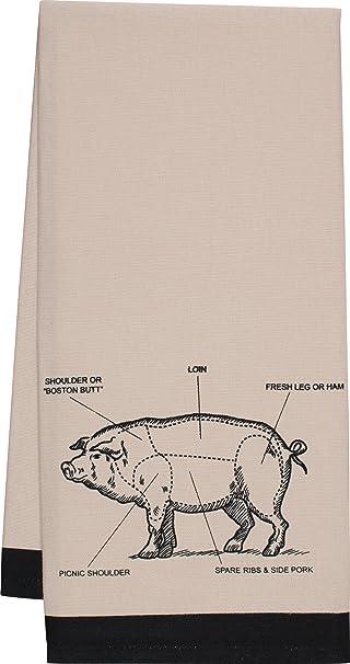 HIC Pig Kitchen Towel, Chefu0027s Cut Chart Design, 20 By 30 Inch
