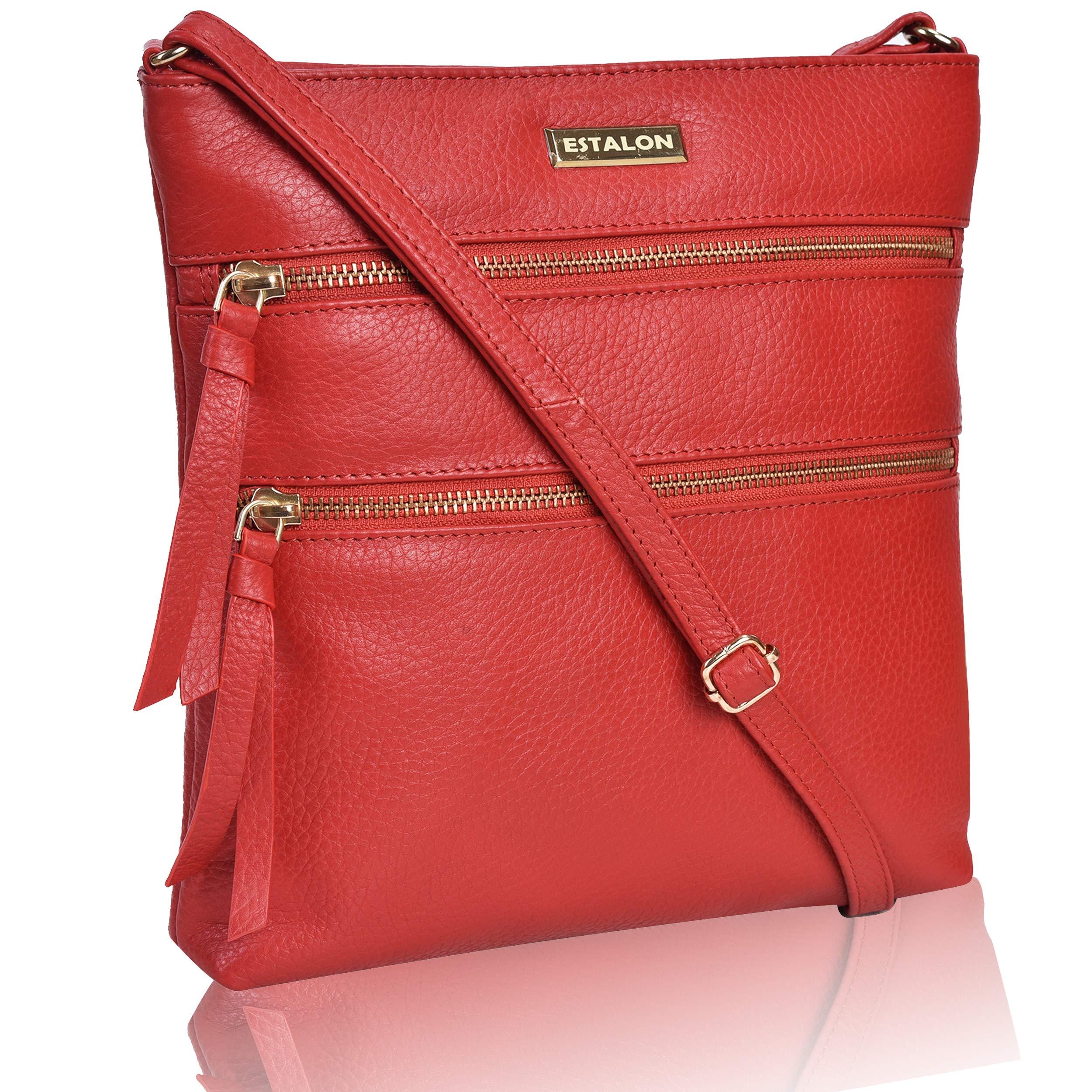 EASTER GIFT Hand Made Light Weight Small Genuine Leather Crossbody Bag Cross Over Purse Messenger Bags for Women Cross Body Shoulder Handbag (Red Pebble)
