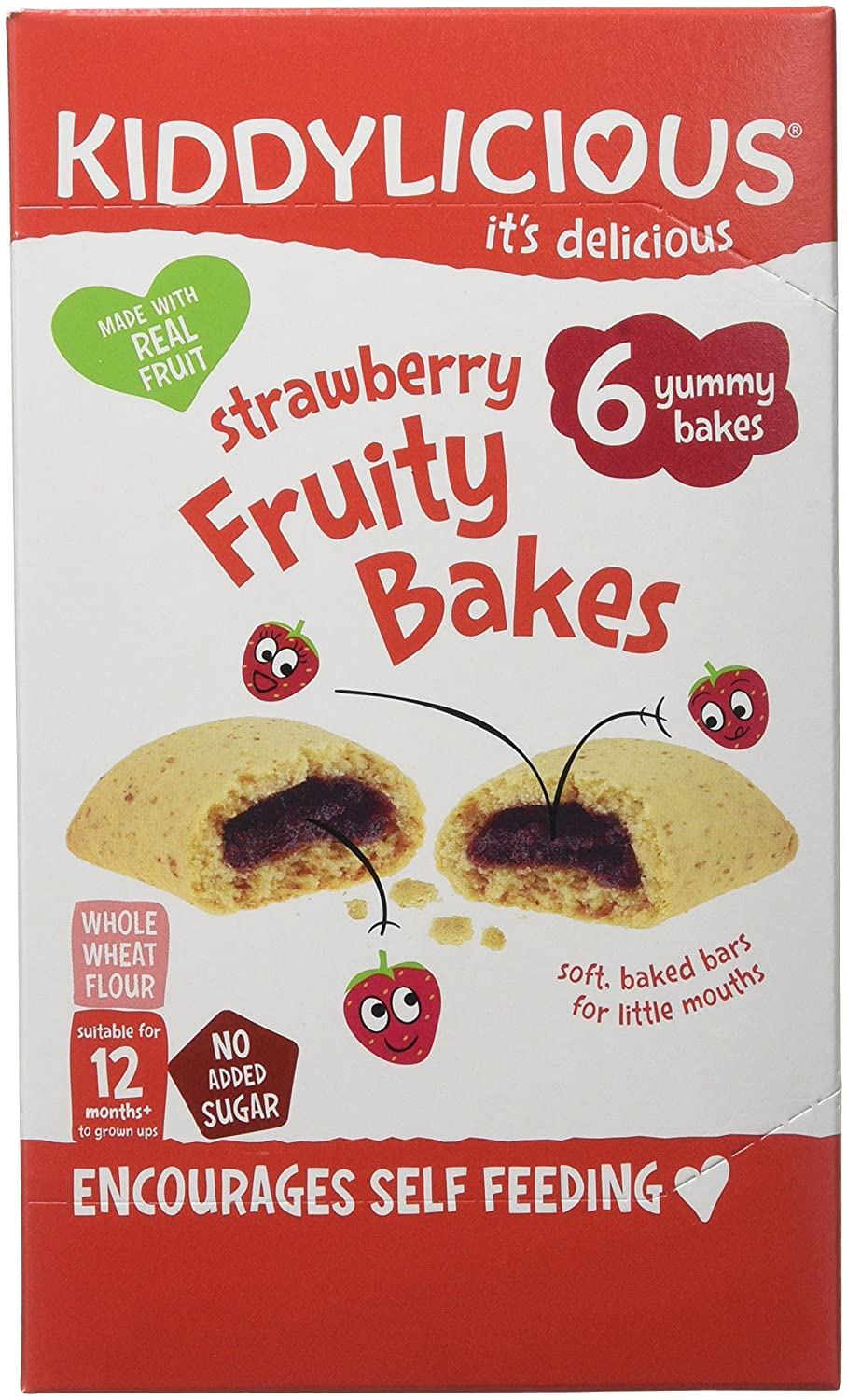 Kiddylicious Strawberry Bakes Fruity, 132 g, Pack of 8 The Kids Food Co. 1080160