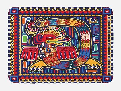 Ordinaire U0026quot;Lunarable Mexican Bath Mat, Aztec Culture Pattern Ethnic Colorful  Mythology Artwork Ancient Snake