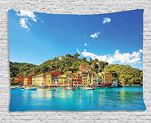 Ambesonne Village Tapestry, Mediterranean European Town by The Sea Portofino Italian Harbor Panorama View, Wide Wall Hanging for Bedroom Living Room Dorm, 80 X 60 , Green Blue