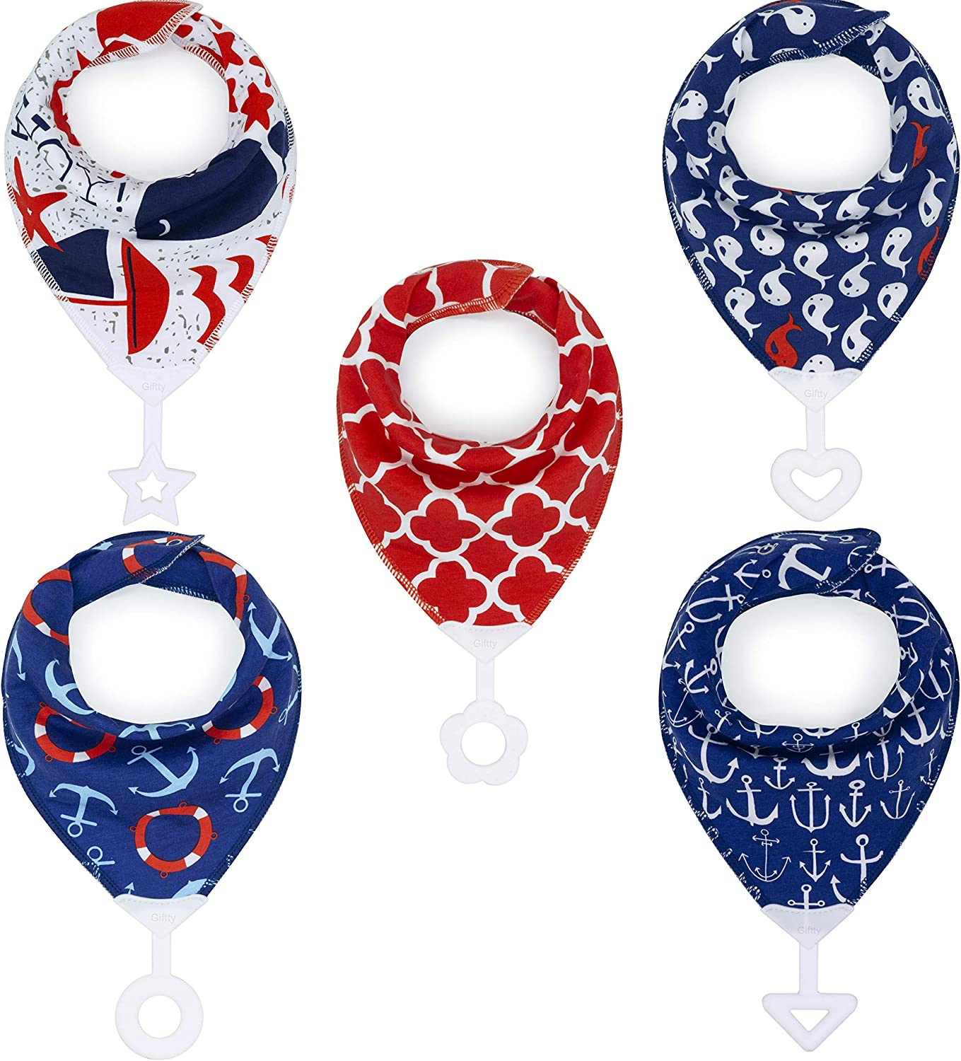 Adjustable Snap for Baby Toddler Boys /& Girls Gold Africa, 5-Pack Teething Bib Bandana Bibs Set with Teether Absorbent Organic Drool Bibs with BPA-Free Silicone Teether Teething Toy