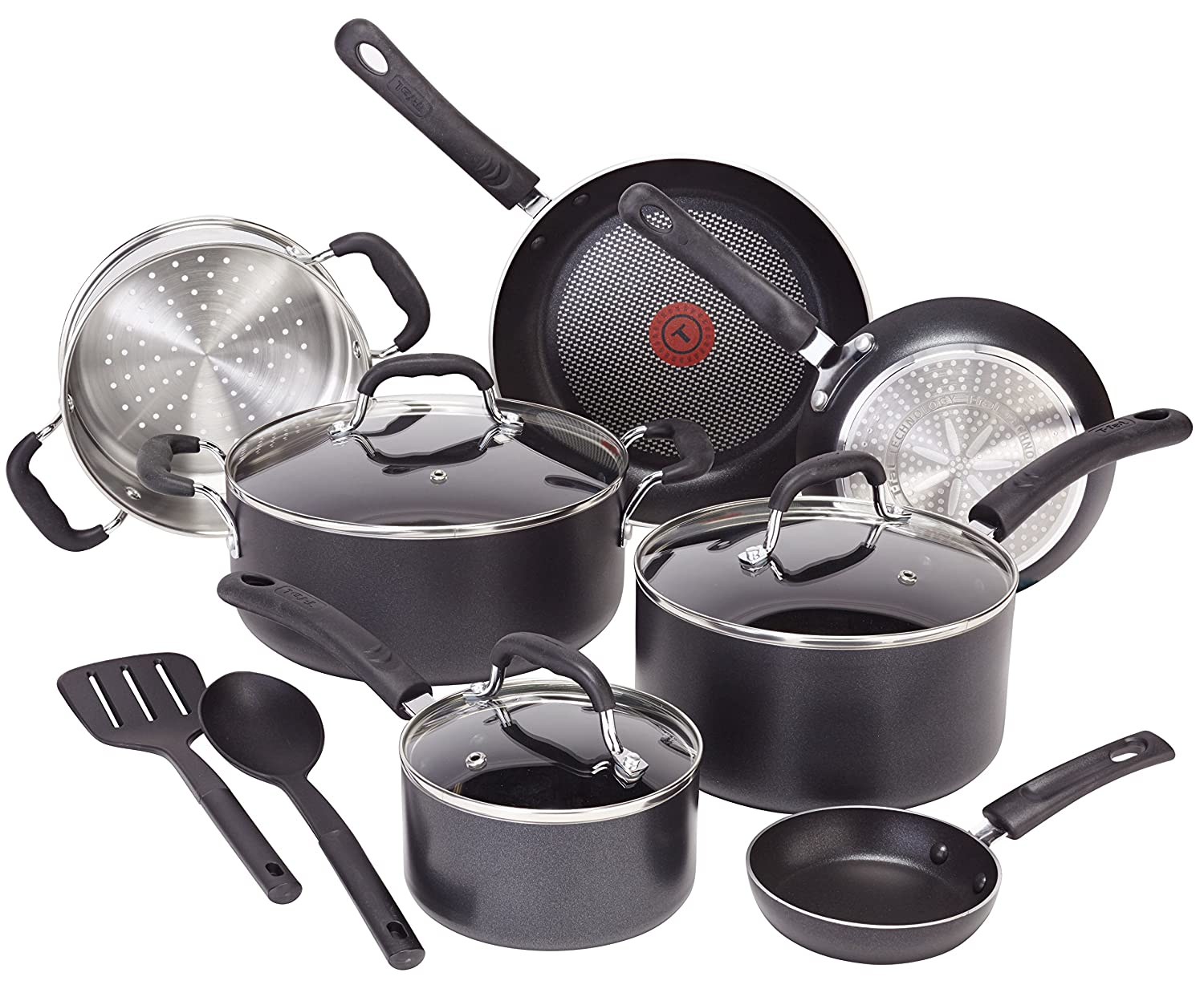 T-fal C515SC Professional Total Nonstick Thermo-Spot Heat Indicator Induction Base Cookware Set, 12-Piece, Black 2100093595
