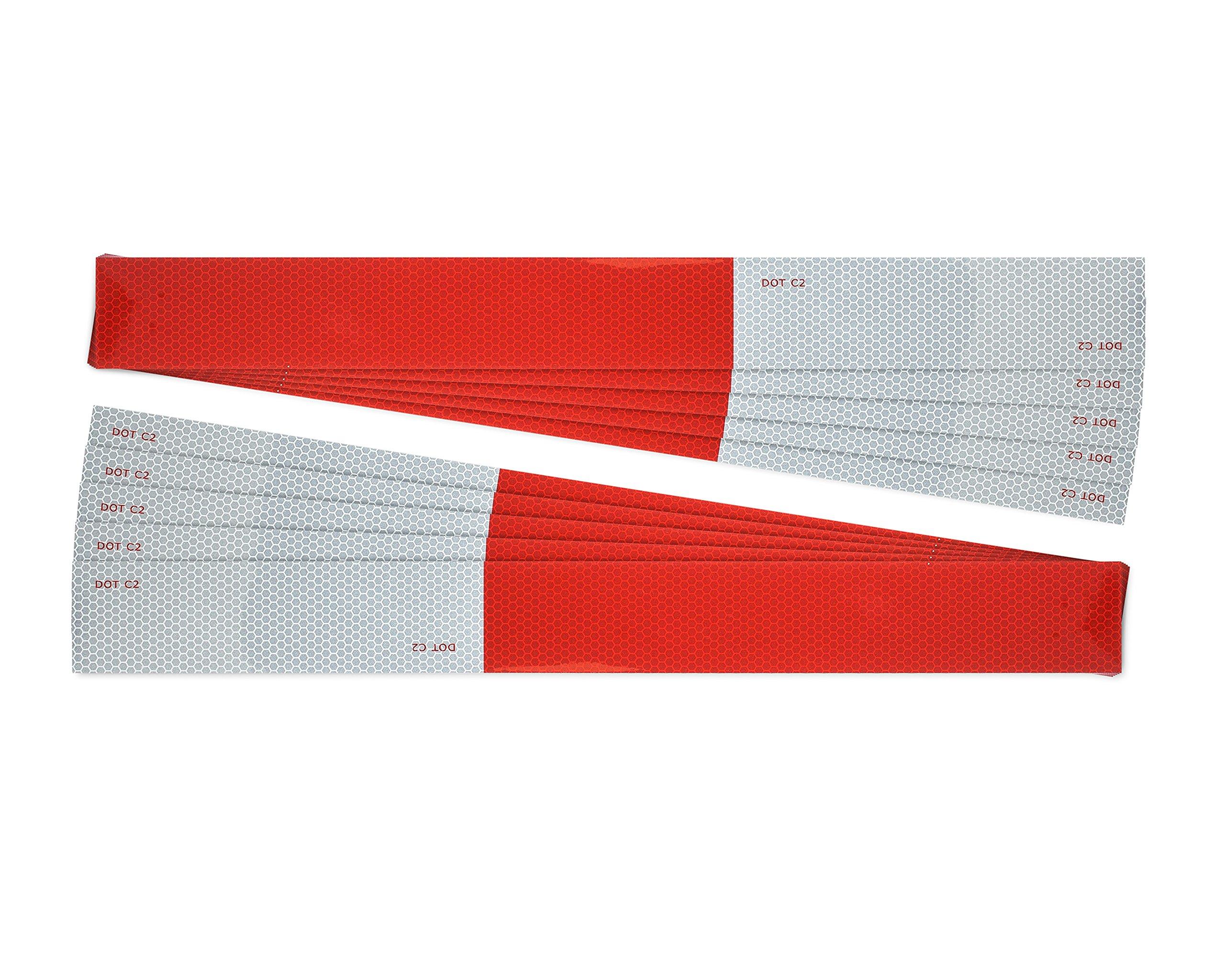 Premium DOT-C2 Reflective easy peel tape strips 2''x18'' (10 pack) DOT tape DOT reflective tape, red and white reflective tape for trailers and trucks dot reflectors