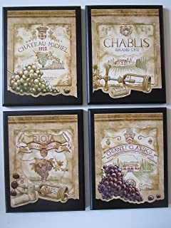 amazon com wine crate style plaques 3 piece set kitchen wall