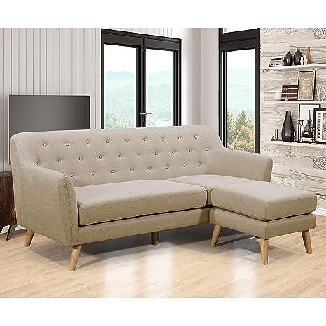 Amazon.com: AC Pacific Mason-Beige-S Sofa: Kitchen & Dining