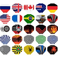 Juvale Dart Flights Standard - 25-Set (75 Pcs) Plastic Darts Flights, Dart Tails with National Flag Cool Styles, Perfect Accessories for Darts Games