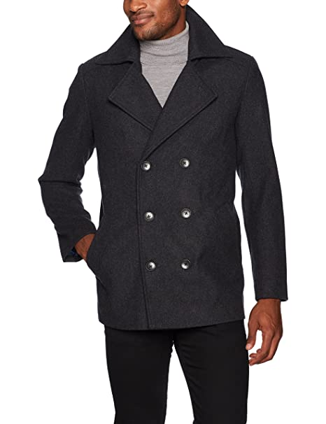 906b01203 Hart Schaffner Marx Mens Captain Double Breasted Peacoat Wool Coats