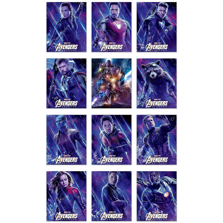 Avengers Endgame Movie Poster Prints - Set of 12 (8x10) Glossy Marvel Wall Art - Black Widow - Captain Marvel - Iron Man - Hawkeye - Thor - Iron Patriot - Rocket - Nebula - Ant Man - Captain America -