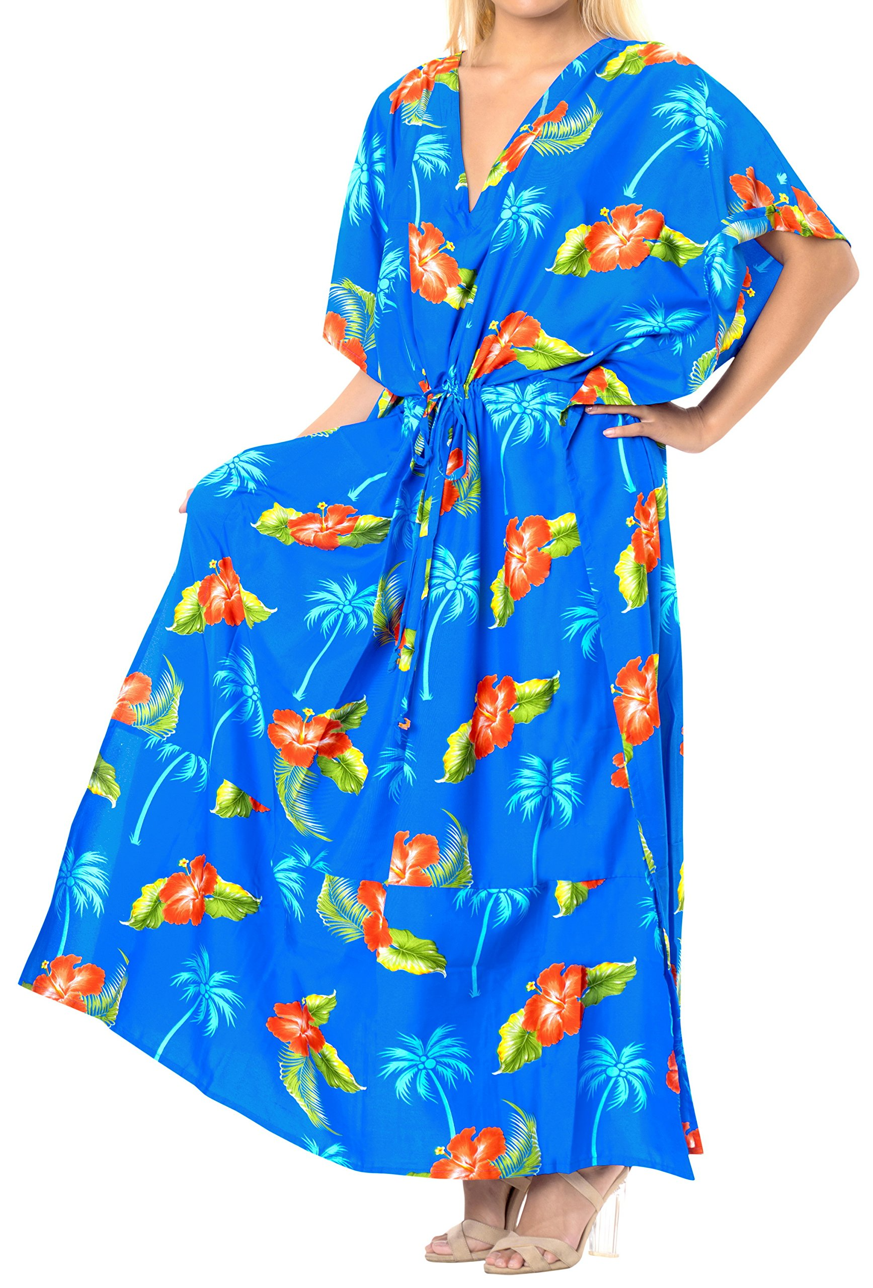 LA LEELA Likre Printed Long Caftan Dress Girl Bright Blue_675 OSFM 14-22W [L-3X]