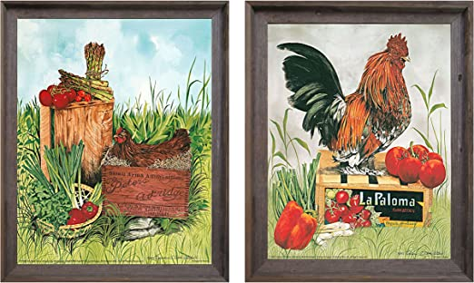 Colorful Chicken Rooster 2 Still Life Animal Wall Decor Barnwood Framed Picture