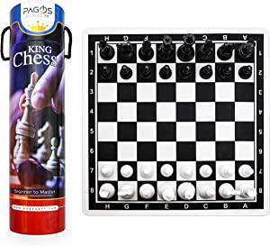 Pagos Chess Set - Portable Travel Chess Board Game Sets with - Beginner Chess Set for Kids and Adults