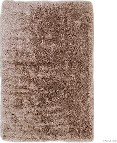 Allstar 8×11 Beige Solid Modern and Contemporary Hand Tufted Rectangular Shag Accent Rug 7 5 x 10 2